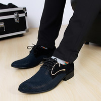 Wholesale New fashion lace up Color matching Men suit Dress Shoes Office Men s pointed Leather shoes Male Business Shoes