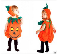 Wholesale Halloween costumes for children kids Pumpkins clothing hat clothes suits pumpkin for boys girls