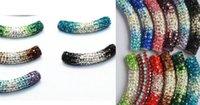 Precio de Mixed crystal beads-30 PC / porción 45cm multicolor mezclado Rhinestone Micro Pave CZ del cristal del tubo del shamballa de cambio gradual tubos largos doblez de los granos de las pulseras hallazgos.