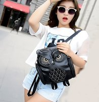 animal bookbags - Owl Embroidery Women Backpacks PU Leather Animal Print Jacquard Small Zipper Versatile Soft Bookbags for Girls