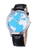 Wholesale Fashion quartz watch with the pattern of Earth business leather band watch Men sport watches with waterproof quality