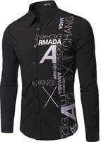 Wholesale A foreign trade new men s letters printed long sleeved shirt Slim yards