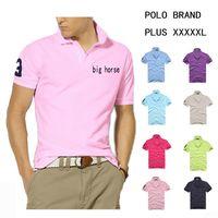 Wholesale POLYESTER Big Horse Logo Mens Polo T Shirts Slim Breathable Tops Lapel Short sleeved Shirts Short Sleeve Shirts Business Casual T Shirts