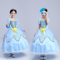 Wholesale Quality pc Aurora princess dress Girls Christmas performance wear cosplay party dresses Flower bow Christmas gifts for girl big swing