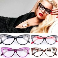 Wholesale 1 PC NEW Fashion Women Lady Girls Retro Cat s Eye Glasses Frame Eye Glasses Styling Clear Lens Spectacles Decoration