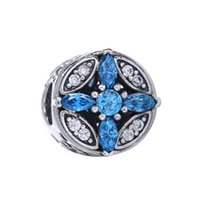 Wholesale 2016 Christmas Gift Snow Flower Pave Blue CZ Charms Radiant Hearts Openwork Beads Sterling Silver Jewelry For Women Bracelet DIY HB665