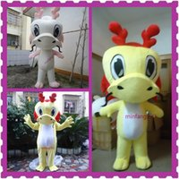 Wholesale Christmas Halloween High Quality White and Yellow dragon Dinosaur Mascot Costume Cartoon Clothing Pink Suit Adult Size Fancy Dress Party