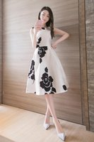 Wholesale 2016 new Korean women summer long section round neck ink printing sleeveless dress Europe stand a word skirt