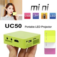 batteries portable media player - Mini Portable Projector DLP Projectors Unic UC50 HDMI P ANSI LM Home Theater TV Beamer Multi Media Player Cinema Built in Battery New