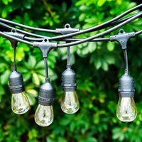 backyard party lights - Outdoor String lights Backyard Light Pro Watherproof Commercial Quality Bistro Festoon Garden Light Feet with Hanging Dropped Sockets