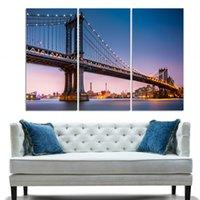 (Без рамки) Городская ночь и мост 3 панели / комплект Большой холст HD Картина Картина Картина Wall Decorative Картина маслом