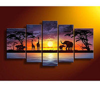 Wholesale Modern Art Handpainted African Landscape Oil Painting Ready to Hang Elephant Painting on Canvas panels