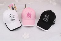 baseball cap packaging - 2016 new hot customizable Korean embroidery letters NY baseball cap child hat sun hat black white package sold by e mail treasure