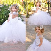 Wholesale 2017 New White Flower Girl Dresses Tulle Ball Gown Floor Length Kids Wedding Party Dresses Lace Cap Sleeves First Communion Dresses MC0208