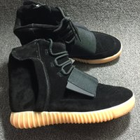 Wholesale Kanye West Boost quot BLACK quot Glow in the dark Men Shoes Sports Boots Fashion Men Sneakers With Box Free DHL shipping