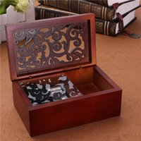Wholesale Best Hot Sale Vintage Hollow Out Wind Up Music Box Musical Finished Wooden Open Stylish Pattern Lid Jewel Crafts