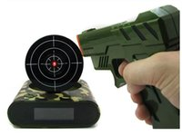 Wholesale 1 Set Gun Alarm Clock Shoot Alarm Clock Gun O Clock Lock N Load Target Alarm Clock