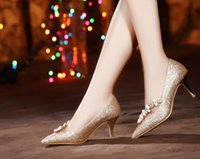 fine glitter - 2016 spring heels wedding shoes red gold bride sexy shoes with pointed shoes fine diamond shoes