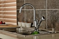 Wholesale Brass Kitchen Faucet Sink Mixer Tap Pull Out Kitchen Faucet Double Outlets Degree Revolve Chrome Finished