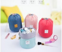 Wholesale Large cylinder capacity draw string digital multi function receive travel bags toiletry bags cosmetic bag