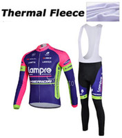 Wholesale Lampre Winter Thermal Fleece Cycling Jersey set Long Sleeve Warm Merida Bike Tracksuit Cycling Clothing Merior Cycling Pants Tight KTM