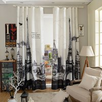 Wholesale D Window Eiffel Tower Curtains For Living Room Kitchen Bedroom Blackout Curtain Home Decoration Cortina Door Curtains