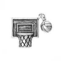 antique basketball hoop - Charm Pendants Basketball Net Hoop Sports Antique Silver mm x mm Mr Jewelry