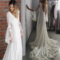 Wholesale 2016 Sexy Illusion Beach Wedding Dresses V Neck Long Sleeves Backless Lace Applique A Line Bohemia Bride Gowns
