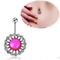 Wholesale Popular Body Jewelry Piercing L Surgical Steel Round Crystal Clear Rhinestone Navel ring Navel Buckle Button Rings