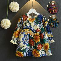 american choice - 3 Colors Choice Girls Autumn Long Sleeve Linen Princess Dresses with Bag Children European Fashion Pretty Floral Printed Dresses