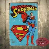 Wholesale Superman Retro Superhero Comics Tin Sign Home Decor Man Cave E