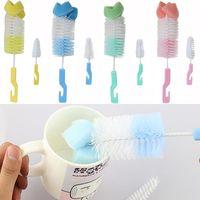 Wholesale 2 Baby Nipple Milk Bottle Brush Degree Sponge Cleaner With Pacifier Brush
