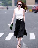 adult ruffle pants - New Women Simple Printing Chiffon Wide Leg Pants Thin Korean Style Summer Slim Fashion Black And White