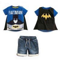 baby pants cloaks - Batman Superman Cloak Sets For Baby Boys Denim Tracksuit Clothes Summer Super Hero Kids T Shirts Tee Shorts Jeans Pants Suit