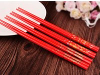 Wholesale 2016 new Fashion Red Chinese Bamboo Wooden Wedding Chopsticks Favors With Silk Pouch Chopsticks