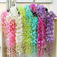 Wholesale Flower Vine Wisteria Wedding Decor cm cm colors Artificial Decorative Flowers Garlands for Party Wedding Wreaths B0103