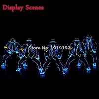 Wholesale EL Suits New Fashion LED EL Clothes Luminous Costumes Glowing Gloves Shoes Light Clothing Men EL Masks Clothes Dance