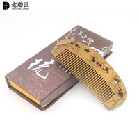 Wholesale 2016 Natural green sandalwood comb carving Little Mandarin Duck comb head massage health care comb for women