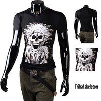 amazon men shirts - Men s fashion T shirt summer influx of men Slim Men s short sleeve personality skull Amazon Print Top Rock T shirt Specials