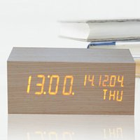 alarm contracts - Creative Contracted LED Voice control Wood Clock LED Electronic Alarm Clock