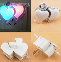 Wholesale Double Heart Shape Lamp Colorful LED Night Light Wall Lamps for Wedding Party PC White