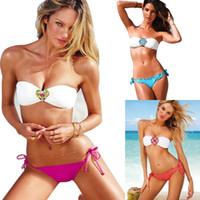 Wholesale Sexy Bikinis Discount - PrettyBaby New Brand Discount Swimsuit Fashion Sexy Diamond Swimwear solid color Padded Bra Swimsuit Rhinestone Bikini Vintage