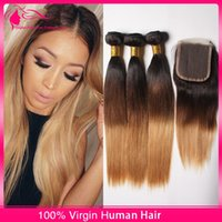 Cheap ombre hair with closure Best three tone hair with closure