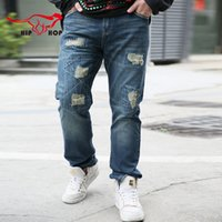 baggy designer jeans - Fashion Jeans Men Ripped Designer Baggy Hip Hop Style Mens Jeans High Quality White Denim Pants Brand Clothing A04