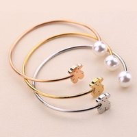 Wholesale Lovely Bear Pearl Bangle New Arrival High Quality Titanium Steel Open Bangles Bracelet For Men and Women
