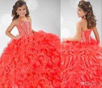 Wholesale Cute Cheap Pageant Dresses - 2016 Cheap Cute Glitz Organza Halter Ruffles Crystals Beaded Flower Girl Ball Gown Princess Pageant Dresses RG 6349