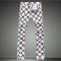 Wholesale Men s fashion lion print denim jeans Male slim fit white thin denim pants Long painted trousers