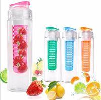 Wholesale Sport Tritan Solid Fruit Infuser Water Bottle Flip Top Lid Tritan Cup oz ml Many Color Option
