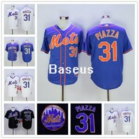 Wholesale 2016 Hall Of Fame Induction With Sleeve Patch Cool Base Ny New York Mets Mike Piazza White Black Blue Baseball Jerseys Outlets