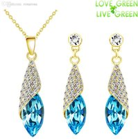 Wholesale Promotion Discount fashion White gold Bride Wedding Austrian Crystal pendant necklace earrings Jewelry Sets